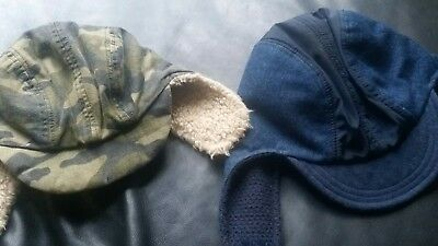 Country road x2 sherpa hats,size s camo and size m denim blue in Vguc.