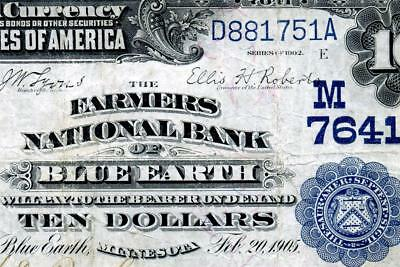 HGR CH#7641 1902 $10 Date Back ((BLUE EARTH, MN))((ONLY 2 Known!!)) VF GRADE
