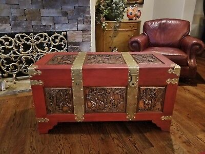 Antique Vtg Brass Wood Chinese  Asian Trunk Chest Hand Carved Panels Large 48""