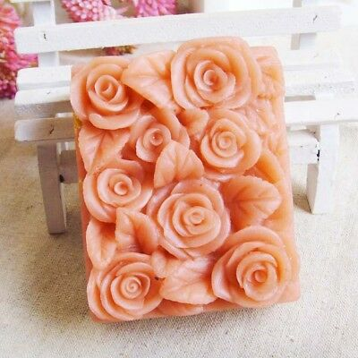 3D Rose Flower Silicone Soap Candle Molds Rose Mold Loaf Cake Tool Rectangle DIY