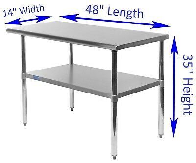 "14"" X 48"" Stainless Steel Kitchen Work Table 