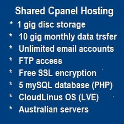 Web Hosting - Shared - Cpanel - CloudLinus OS    (one year)