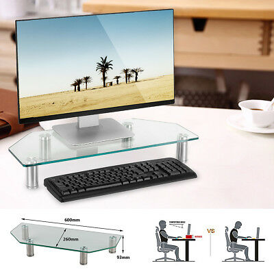 Computer Screen Desktop Stand Glass Monitor Laptop TV Riser Holder Clear MECO