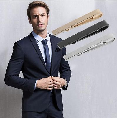 Fashion Mens Stainless Steel Silver Tone Simple Necktie Tie Bar Clasp Clip Clamp