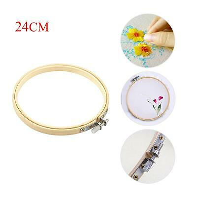 Wooden Cross Stitch Machine Embroidery Hoops Ring Bamboo Sewing Tools 24CM T々