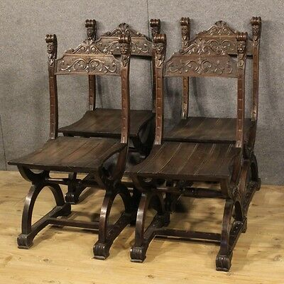 4 chairs armchairs living room style antique renaissance 900 cabinet furniture