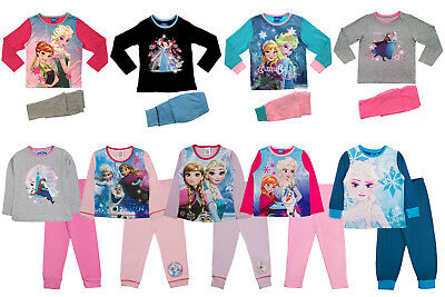 Girls Disney Frozen Pyjamas Elsa Anna 2 Piece PJ Set Fever Olaf Adventure Size