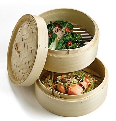 Chinese Bamboo Steamer Dim Sum Baozi Rice Couscous Steamer 15cm Or 20cm