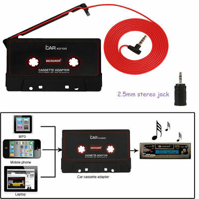 2,5mm Auto Kasettenadapter für iPhone iPod CD MP3 Player Autoradio Schwarz