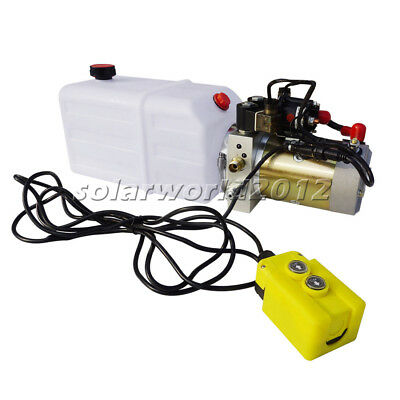 6 Quart 12V Hydraulic Pump Double-Acting 3200 PSI for Dump Trailer Power Pack