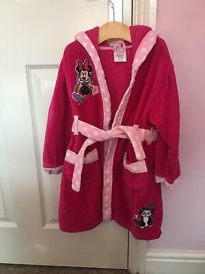 Girls Disney Store Princess Pink Towelling Bathrobe Dressing Gown Age 4