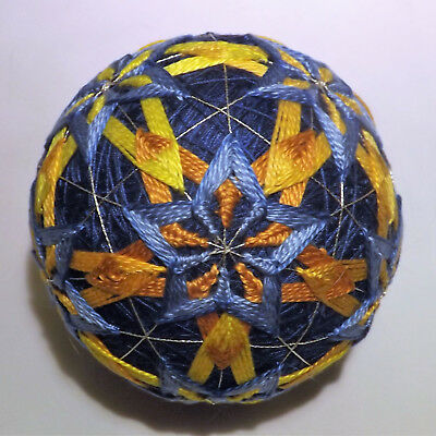 Japanese Temari Ball Pentigan woven stars within a star / blue and gold handmade