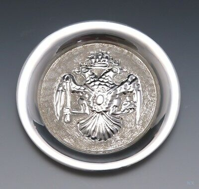 Neat European 830 Silver Double Eagle Round Dish Tray Ashtray