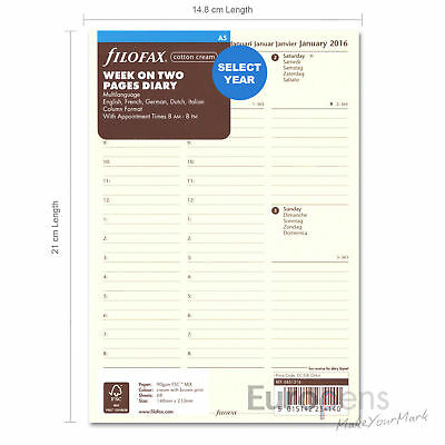 Filofax A5 2019-2020 Week On Two - Cotton Cream Column Diary Refill (68513)