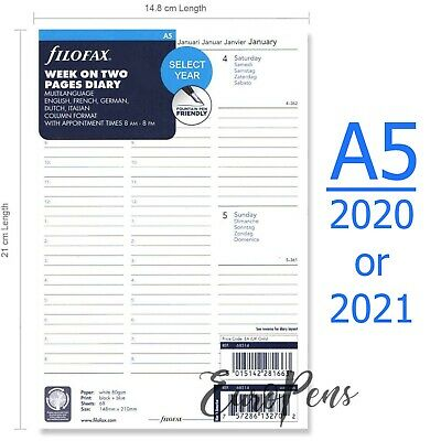 Filofax A5 2019-2020 diary Week On Two - Appts / 5 Langs Diary Refill (68514)