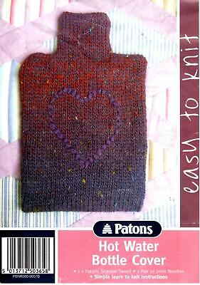 Patons Easy To Knit Hot Water Bottle Knitting Wool / Yarn Kit Cover 06214