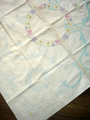 Vintage Linen Transfer Printed Partially Hand Embroidered Tablecloth To Finish