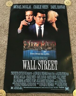 Original 1987 WALL STREET Movie Poster, 27x40, Rolled