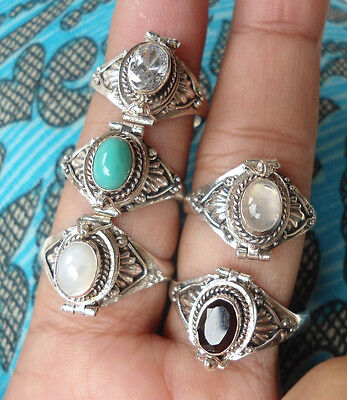 5X 925 Sterling Silver-RP65-Balinese Poison/Wish Box Ring With Mix Stone & Size