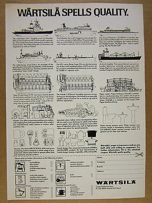 1982 Wartsila Icebreaker Ferry Cruise Cable-laying LPG Ships vintage print Ad