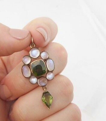 9ct/9k gold old cut Tourmaline & Moonstone large Victorian pendant, 375