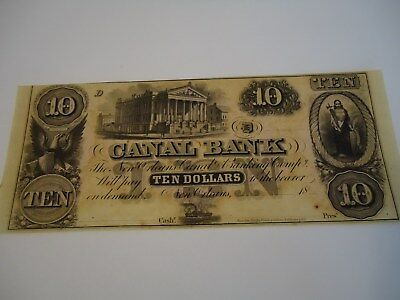 Old $10 note from Canal Bank of Louisiana. Uncirculated condition.