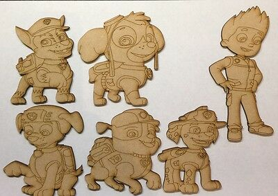 Paw Patrol Set Wooden Characters 3 and 6mm thick Mdf Laser Cut Craft shape Blank
