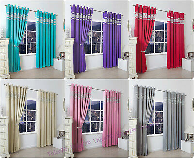Luxurious Thermal BLACKOUT CURTAINS pair~ Read Made Diamond EYELET CURTAINS new