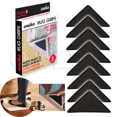 8 X Ruggies Rug Carpet Mat Grippers Non Slip Anti Skid Reusable Washable Grips