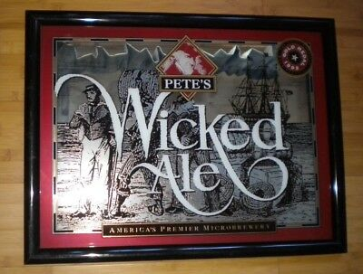 """Pete's Wicked Ale Beer Mirror 21 1/2"""" wide x 16 1/2"""" high x 1"""" thick Vintage"""