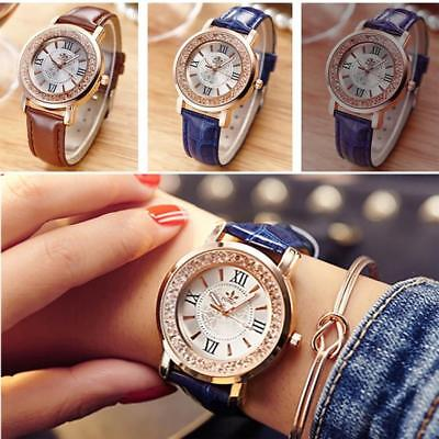 Womens Fashion Waterproof  Casual Watch Leather Band Quartz Analog Wrist Watches