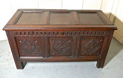 17th Century Carved Oak Coffer, with Key