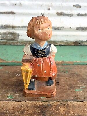 Vintage Swiss Switzerland Hand Carved Wood Girl With Umbrella and Books 3""