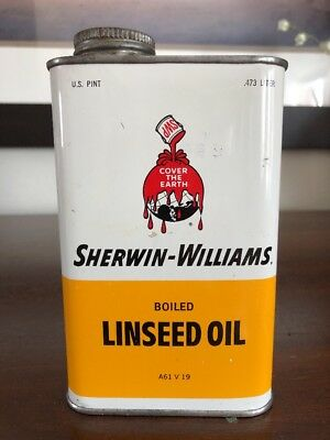 Vintage Sherwin-Williams Boiled Linseed Oil Tin Can With OLD Logo Sign Paint
