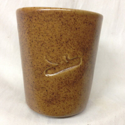 "Monmouth Usa Dekalb Stoneware Mug 4"" Speckled Brown Maple Leaf"