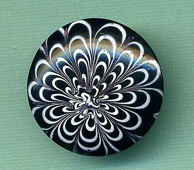 "Antique Button…Deluxe Rare Black Glass Nailsea Swirlback…7/8"", Medium!"