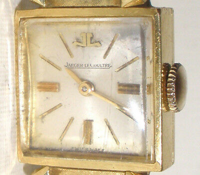 Vintage Jaeger Le-Coultre 18k Yellow Gold Ladies Wrist watch mechanical 14k band