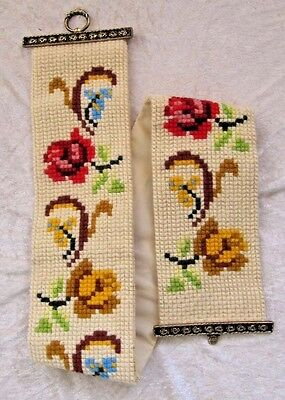 Cross Stitch Wall Tapestry: Vintage Retro Floral Needlepoint Bell Pull Hand Made