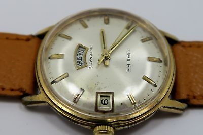 VINTAGE - Jubilee ~  RARE Day / Date 17 Jewel Automatic Mens Swiss Watch