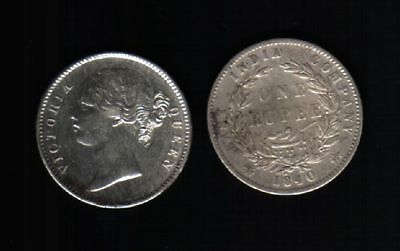 EAST INDIA Company 1 RUPEE 1840 QUEEN VICTORIA SILVER British CURRENCY COIN