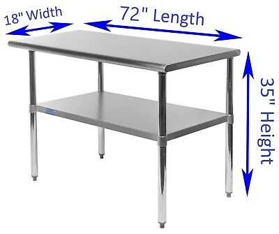 """18"""" X 72"""" Stainless Steel Kitchen Work Table 