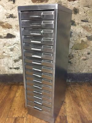 Vintage Industrial Stripped Metal 15 Drawer Filing Cabinet A4 Size
