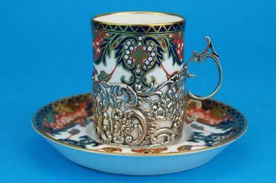 ROYAL CROWN DERBY Imari Demitasse Coffee Cup/Can HM SILVER Holder London 1905