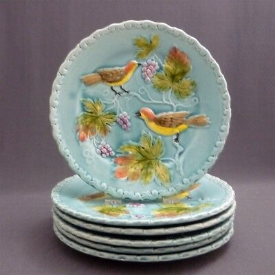 "Set of 6 Teal Antique Majolica Polychrome Plates Flowers Birds Berries 8"" Desert"