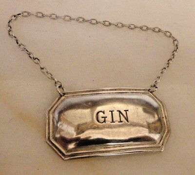 """Vintage Solid Silver Decanter Label """"gin"""" By Francis Howard-1972"""