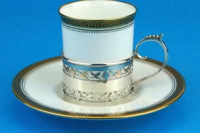 WEDGWOOD Art Deco GREEK KEY Demitasse Coffee Can/Cup SILVER Holder HM 1914