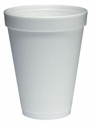 Dart 12 oz. Disposable Cold/Hot Cup, Polystyrene Foam, White, PK 1000 - 12J12