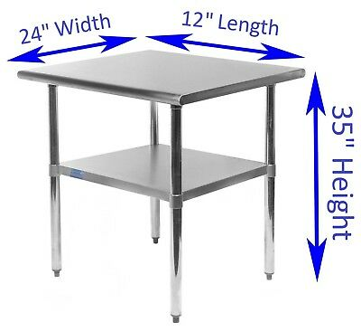"""24"""" X 12"""" Stainless Steel Kitchen Work Table 