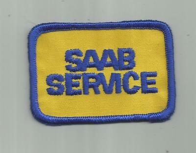 Vintage Saab Service Patch Made On Old Twill Sewn And Nice 3 Inches Wide Auto