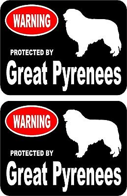 2 protected by Great Pyrenees dog car home window vinyl decals stickers #A